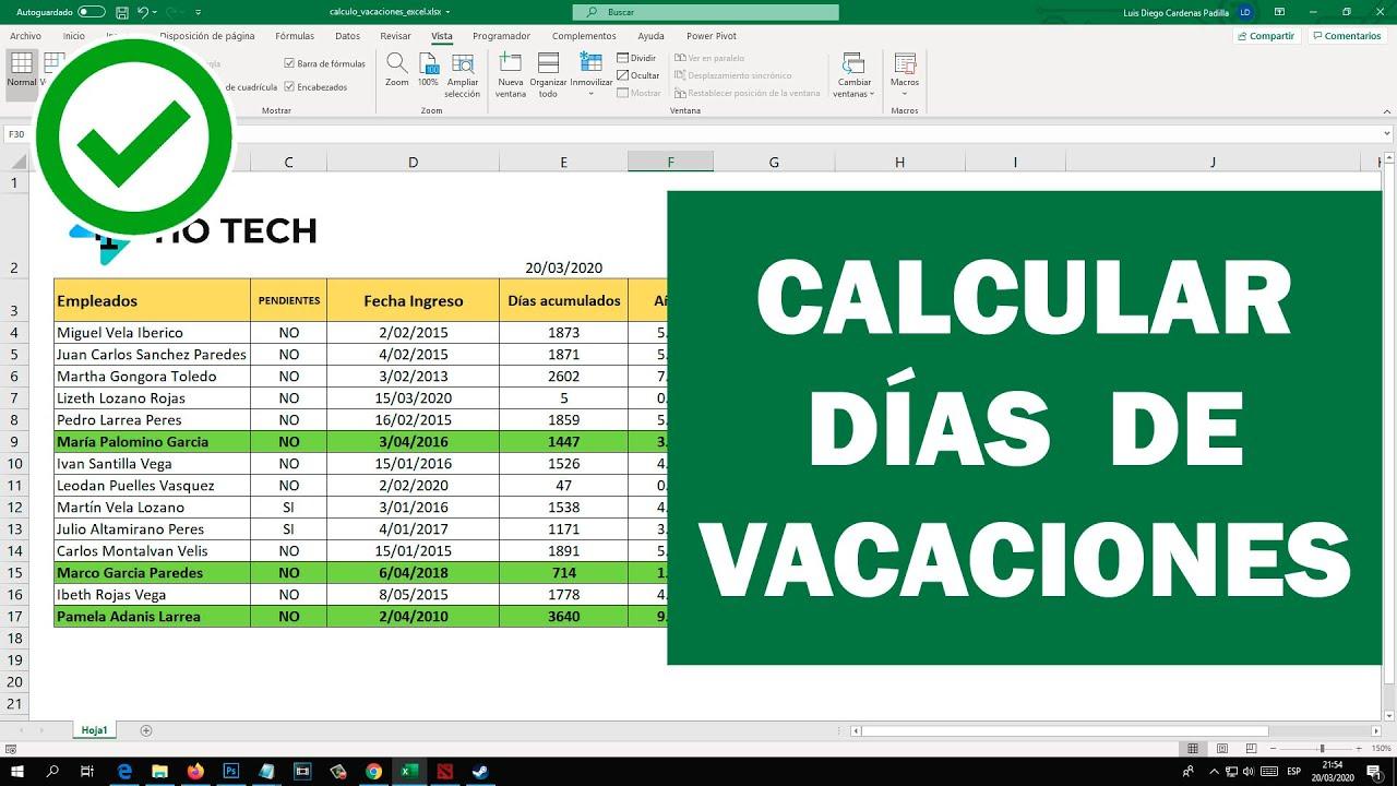 Cálculo de Vacaciones de Trabajadores en EXCEL